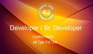 Developer - Sr. Developer
