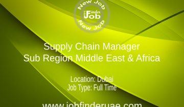 Supply Chain Manager - Sub Region Middle East & Africa