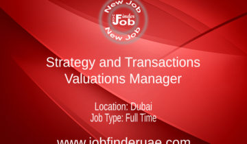 Strategy and Transactions – Valuations Manager